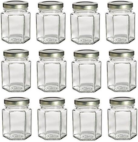 Nakpunar 12 pcs 3.75 oz Hexagon Glass Jars with White Lids Jam Honey Canning