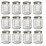 4 oz hexagon glass jars - PremiumVials 12 pcs , 4 oz Hexagon Glass Jars for Jam, Honey, Wedding Favors, Shower Favors, Baby Foods, DIY Magnetic Spice Jars