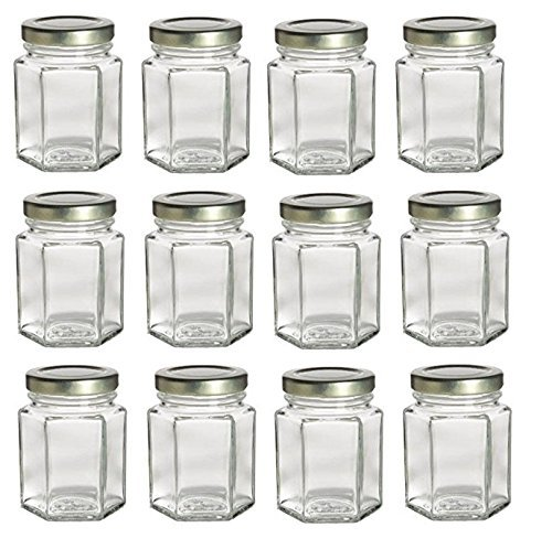 Nakpunar 12 pcs , 3.75 oz Hexagon Glass Jars for Jam, Honey