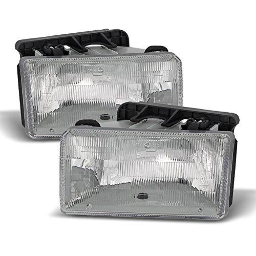 VIPMOTOZ Chrome Housing OE-Style Composite Headlight Headlamp Assembly For 1991-1996 Dodge Dakota, Driver & Passenger Side