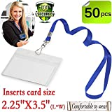 Name tags with lanyard badge holder Horizontal ID with lanyards Woven blue 50 pack-Kids Name Labels School Camp Trip Church Trade Show Event Conference Holders(blue Horizontal 50 pack)