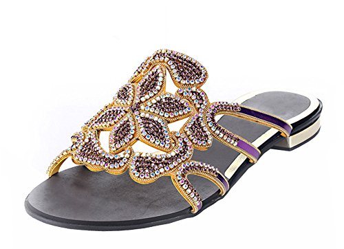Honeystore Women's Floral Shaped Rhinestone Handmade Prom Flats Purple 9.5 B(M) US (Best Shoes For Flat Footed Person)