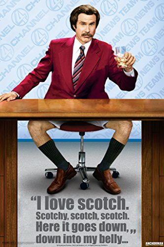 Anchorman I Love Scotch Legend Of Ron Burgundy Will Ferrell Comedy Film Movie Poster 12x18 (70s Tv Characters)