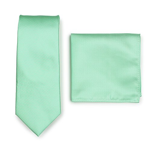 (Bows-N-Ties Men's Solid Necktie and Pocket Square Set Matte Microtexture Finish (Mint))