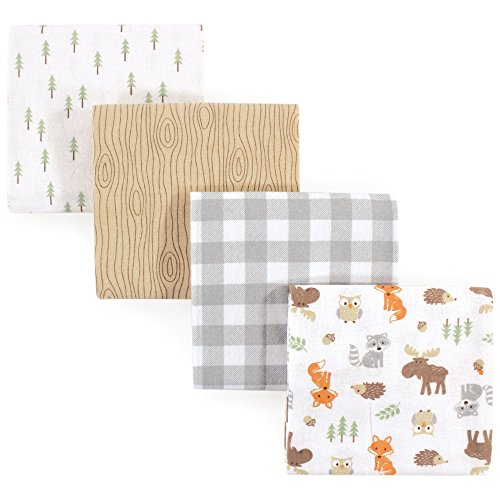 Hudson Baby Unisex Baby Cotton Flannel Receiving Blankets, 4-Pack, Woodland, One Size