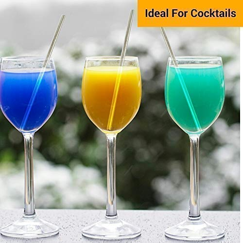 Juices Cleaning Brushes /& Storage Bag Included Premium Stainless Steel Reusable Drinking Straws Great for Smoothies Set of 8 in 2 Sizes /& Colours Rainbow /& Silver Milkshakes /& Hot Drinks