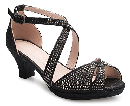 OLIVIA K Girl's Cute Adorable Strappy Glitter Open Toe Heel Sandals - Adjustable ()