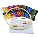 Caydo Full Range of Embroidery Starter Kit Cross Stitch Tool Kit Including 10 Inch Bamboo Embroidery Hoop, 36 Random Color Threads, 12 by 18-Inch 14 Count Classic Reserve Aida and Tool Kit
