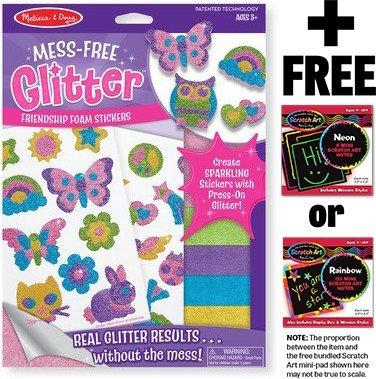Friendship Foam Stickers - Mess Free Glitter Series + FREE Melissa & Doug Scratch Art Mini-Pad Bundle [95006]