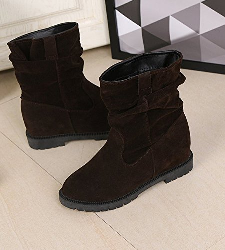 Trabajo Minetom Planos Casual Nieve Dulce Elegante Zapatos de Invierno Slouchy Deslizante Anti de Mujer Café Botas Botas Otoño xrU8ax