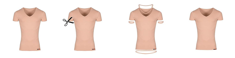 Hautfarbe Albert Kreuz Damen Lasercut nahtlos Clean Cut Unterhemd Kurzarm aus Baumwolle Elastan unsichtbar