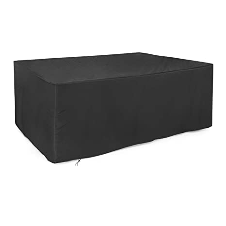 225 & Dokon Rectangular Garden Table Cover Waterproof Breathable Oxford Fabric Outdoor Furniture Cover (170x94x71 cm) - Black