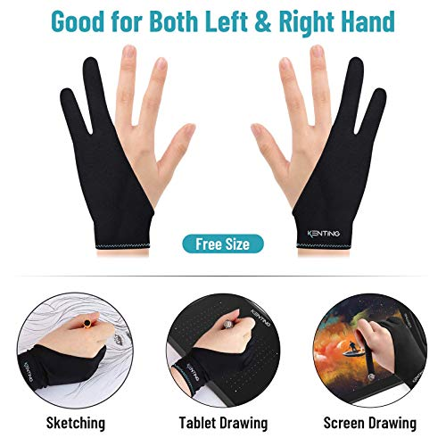 KENTING Two-Finger Glove Free Size for Drawing Graphics Tablet LED Light Box Tracing Pad iPad and Artist Art Creation Good for Right Hand Left Hand 1PC