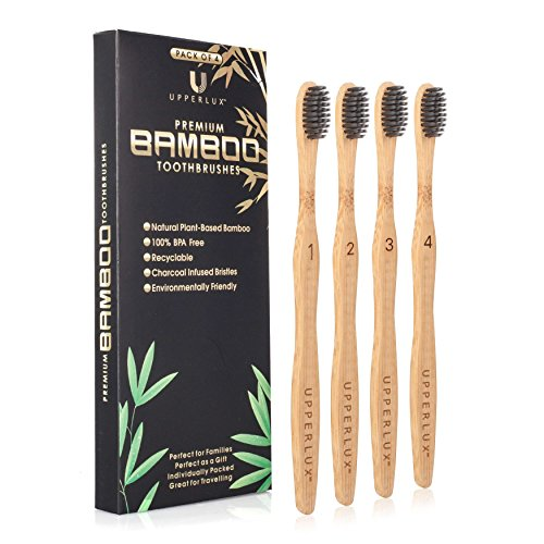 (Upperlux Premium Biodegradable Bamboo Toothbrush - Set of 4 with Charcoal Infused Nylon Bristles - Natural organic, Plant-Based and Eco-Friendly)