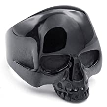TEMEGO Jewelry Mens Stainless Steel Ring, Vintage Gothic Skull Band, Black