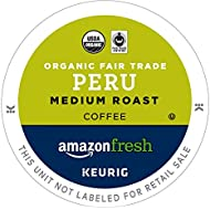 AmazonFresh 80 Ct. Organic Fair Trade Coffee K-Cups, Peru Medium Roast, Keurig Brewer Compatible