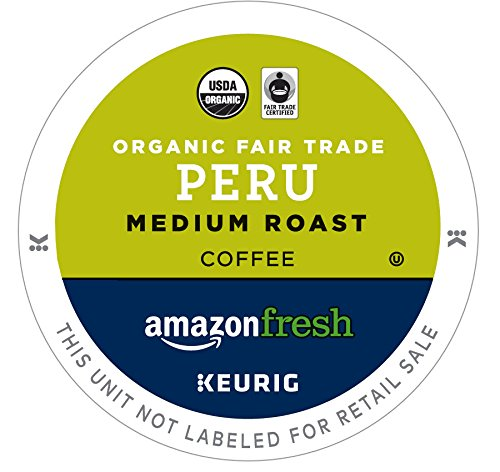 - AmazonFresh 80 Ct. Organic Fair Trade K-Cups, Peru Medium Roast, Keurig K-Cup Brewer Compatible