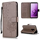 Shinyzone Protective Phone Case for Samsung Galaxy S9,Embossed Butterfly Dandelion Pattern Series,Magnetic Stand Cover with Card Slots Leather Wallet Flip Case-Gray