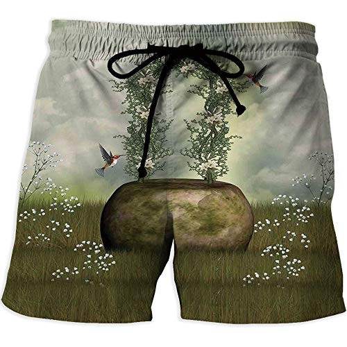 MOOCOM Men's Quick-Dry Lightweight Pace Running Shorts,Hunting Decor,Quick Dry Beach S ()