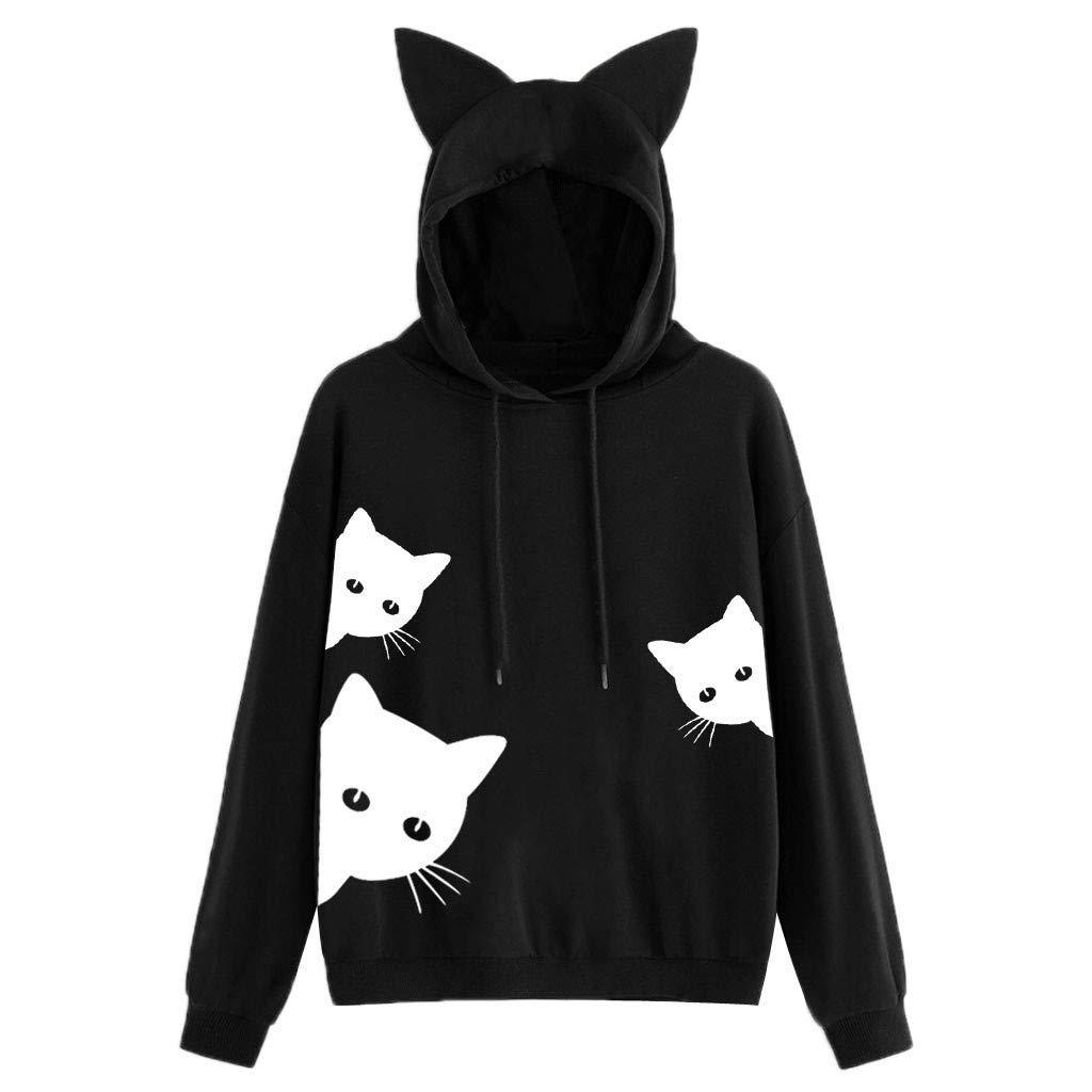 ✪COOLGIRLS✪~Clothing Womens Cat Print Long Sleeve Hoodie Sweatshirt Hooded Pullover Tops Blouse Black by ✪COOLGIRLS✪~Clothing