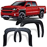 Fender Flares Kit Compatible for 2007-2013 Chevy Silverado 1500 (Only Fit 5.8 Feet Short Bed), Textured Matte Black Finish Front Rear Wheel Pocket Rivet Style