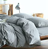 Eikei Wrinkled Look Soft Washed Cotton Queen Duvet Cover Set, Cool Gray