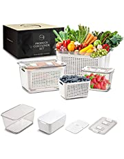 3 Pack Produce Saver Container With Lids and Dividers - Vegetable and Fruit Containers for Fridge Produce Keeper - Adjustable Vent System Produce Storage BPA-Free Berry Fridge Storage Organizer bins