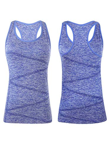 VANIS Women's Yoga Tank Tops Built in Bra Stretchy Activewear Tops Long Workout Shirts Racerback Quick Dry(Blue,S) For Sale