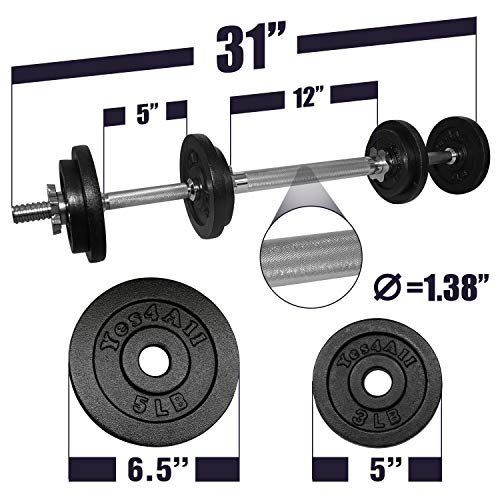 Yes4All Adjustable Dumbbell Set with Dumbbell Connector – 40 lbs Dumbbell Weights (Pair) by Yes4All (Image #1)