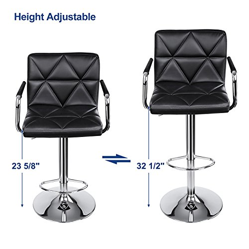 Songmics Adjustable Bar Stools With Arms And Back Leather