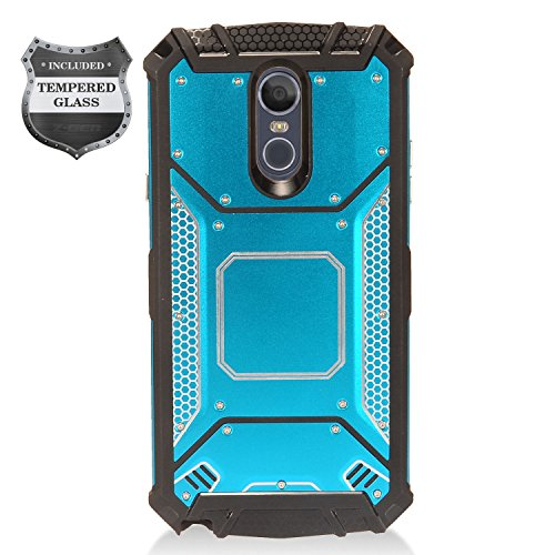 LG Stylo 4 (2018), Stylo4+ Plus, LM-Q710, LM-L713DL - Aluminum Metal Hybrid Case + Tempered Glass Screen Protector - ZY1 Blue