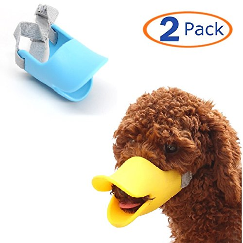 Hamiledyi Dog Mouth Cover Duck Mouth Shape Anti-bite Muzzle(Pack of 2) (M)]()