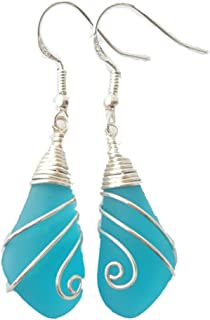 product image for Handmade jewelry from Hawaii, swirls wire wrapped Turquoise Bay blue sea glass earrings, (Hawaii Gift Wrapped, Customizable Gift Message)