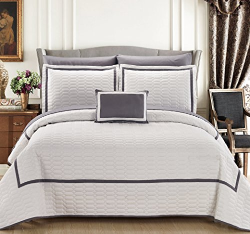 Chic Home 8 Piece Mesa Hotel Collection 2 Tone Banded Quilted Geometrical Embroidered, Quilt In A Bag, Includes Sheets Set Quilt Set Shams And Decorative Pillows Included, King, White