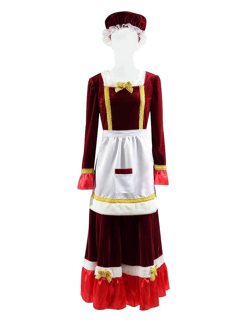 Yewei Damen Weihnachten Christmas Santa Claus Rot Kostüm Cosplay Dress Kleid Kostüm Set