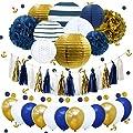 NICROLANDEE Nautical Bachelorette Party Decorations Navy Stripe Gold Paper Lanterns Royal Blue Tissue Pom Poms Flower Glitter Anchor Confetti Tassel Garland Party Balloon Wedding Bridal Baby Shower