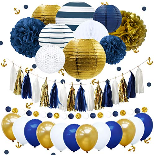 NICROLANDEE Nautical Bachelorette Party Decorations Navy Stripe Gold Paper Lanterns Royal Blue Tissue Pom Poms Flower Glitter Anchor Confetti Tassel Garland Party Balloon Wedding Bridal Baby -