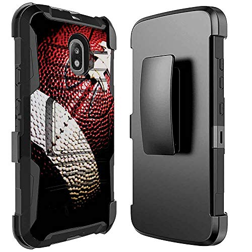(Galaxy J3 2018 Case, Galaxy J3 Star,J3 Archieve,Express/Amp Prime 3,J3 V 3rd Gen/J3 Orbit/J3 Aura/Sol 3 [NakedShield] Kickstand Holster Armor Case [Football] for Samsung Galaxy J3V)