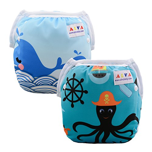 ALVABABY Swim Diapers Reusable Adjustable & Washalbe For Boys & Girls One Size 2pcs DYK13-14 by ALVA