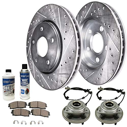 Detroit Axle - Front Wheel Bearing & Hub, Drilled Brake Rotors w/Ceramic Pads w/Hardware & Brake Cleaner & Fluid for 2006 2007 2008 2009 2010 Jeep Commander - [2005-2010 Grand Cherokee]