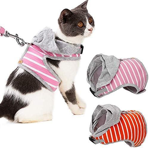TUYU Conjunto de arnés y correa ajustable para gatos chaleco de mascota para gatos abrigado con sombrero y arnés para caminar – el mejor regalo para gatito 1910CWL0192 (S, rosa): Amazon.es: Hogar