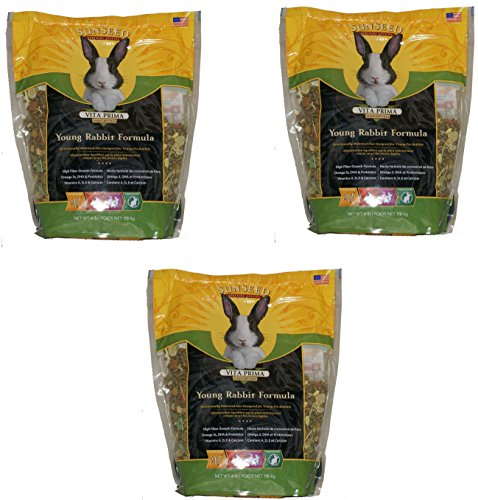 (3 Pack) Sunseed Vita Prima Sunscription Young Rabbit Formula, 4 Lb each