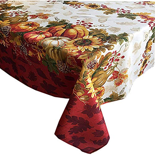 (Newbridge Harvest Swaying Leaves Double Border Autumn Thanksgiving Fabric Print Tablecloth, 60 Inch x 84 Inch Oval)