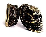 Set Finger Guard Bolster & Pommel Bronze Custom Knife KNIVE Blade Making Set (Oak) (Skull)