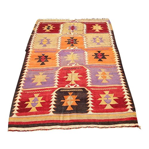 Vintage Turkish Kilim Rug - 4′2″ × 6′2″