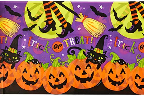 (Witch's Halloween Trick Or Treat Crew Reusable Plastic Table Cover, 54