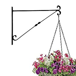 Amagabeli Large 14'' Arc Metal Plant Hanger Plant Hook Forged Mount Against Door Fence Deck Garage Balcony Outdoor Lawn Iron Bracket For Planter Bird Feeder Lantern Wind Chimes