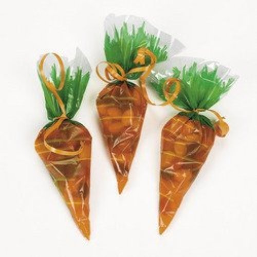 Cellophane Carrot-Shaped Goody Bags