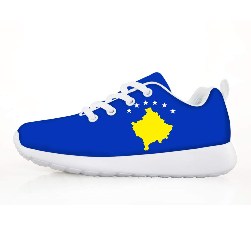 Owaheson Boys Girls Casual Lace-up Sneakers Running Shoes Kosovo Flag