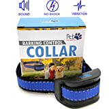 NO SHOCK Humane Bark Control Collar, For 10-120lb Dogs, Extremely Effective with No Pain or Harm, 7 Different Bark Sensitivity Levels, Bark Training Collar Vibration, Neck size 8.34in to 24.5in